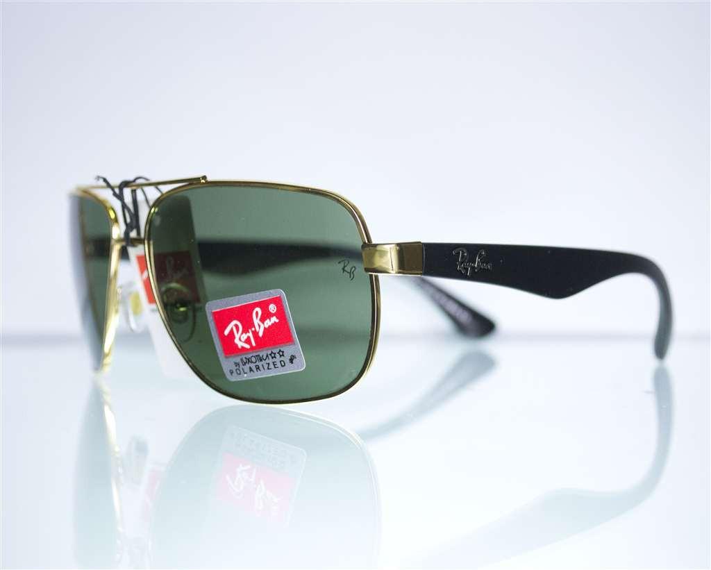 Оптом очки Ray-Ban мужские солнцезащитные - Золотые - 3483