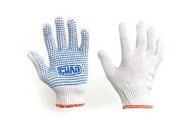 Перчатки Х/Б с ПВХ точкой р10 (белые+черный ПВХ стандарт) СИЛА