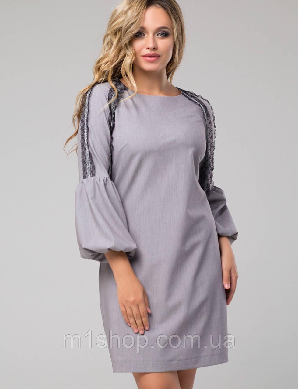 Женское платье с расклешенными манжетами и кружевом (Альфреда lzn)