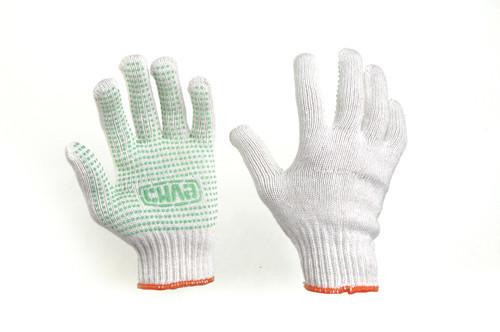 Перчатки Х/Б с ПВХ точкой р10 (белые+зеленый ПВХ мастер) СИЛА