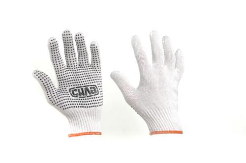 Перчатки Х/Б с ПВХ точкой р10 (белые+синий ПВХ эконом) СИЛА