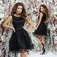 Шикарное коктейльное гипюровое платье 42 44 46 черное розовое синее красное