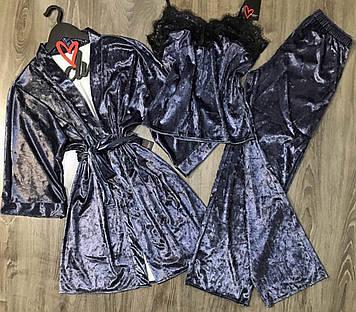 Комплект велюровый, халат+ пижама майка штаны
