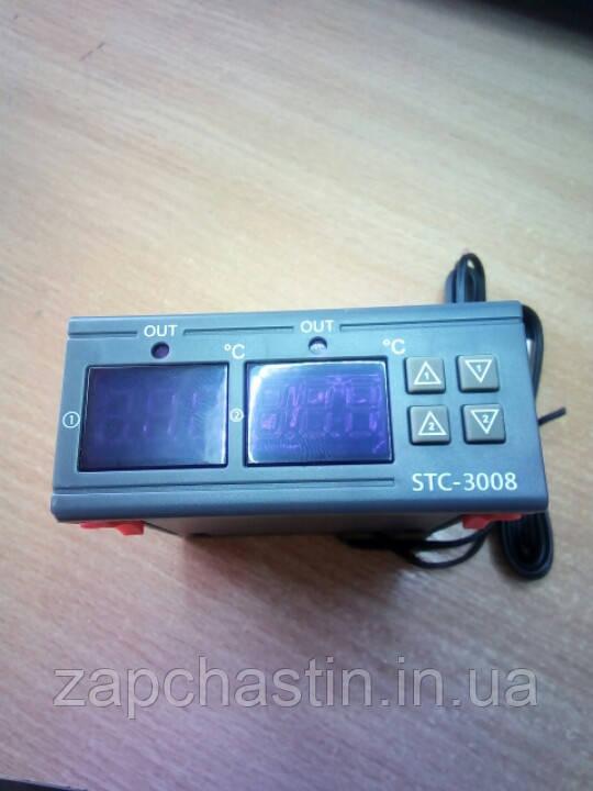 Контроллер температур STC-3008, 220V-10А (-55+120°C) / 2 датчика