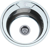Кухонная врезная Мойка Platinum-Диаметром 490 мм из Нержавейки-0,6 мм,Сатин