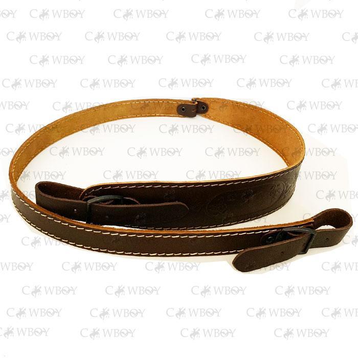 Оружейный ремень с тиснением кожаный, коричневый