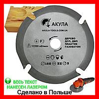 Четырех зубая дисковая пила АКУЛА  Profi на болгарку D180 d22 z4