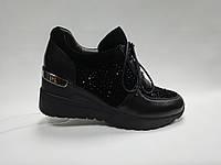 Черные туфли на танкетке. Сникерсы. Маленькие размеры ( 33 - 35 ).