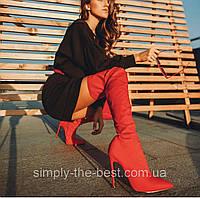 Красные  высокие женские  сапоги ботфорты