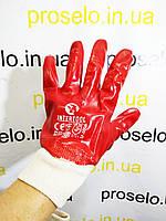 Перчатки (рукавицы) маслостойкие х\б трикотаж с ПВХ покрытием Intertool SP-0006. Вязаный манжет