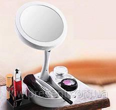 Зеркало с лед подсветкой круглое для макияжа My Foldaway Mirror складное двухстороннее