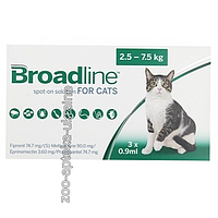 Капли на холку Бродлайн (Broadline) от блох и клещей для Кошек от 2,5 до 7,5 кг - 1 апликатор 0,9мл