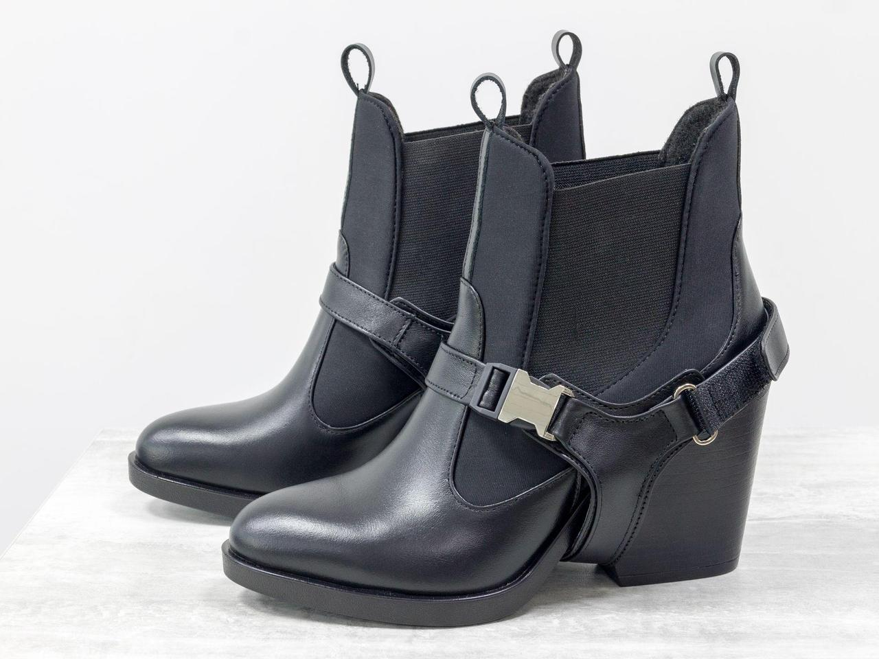 Дизайнерские ботинки из натуральной кожи черного цвета и эластичными вставками из дайвинга
