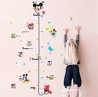 """Интерьерная наклейка в детскую, ростомер """"Микки Маус и друзья"""" Game, размер 121*72 см."""