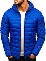 Куртка мужская демисезонная весенняя осенняя Hot синяя с капюшоном | Утепленная стеганая ветровка мужская