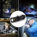 Мини светодиодный фонарик 1000LM Q5 с функцией зума и 3 режимами. Металлический фонарик. Flashlight., фото 4