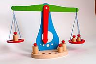 Терези дерев'яні навчальні з набором важків НУШ