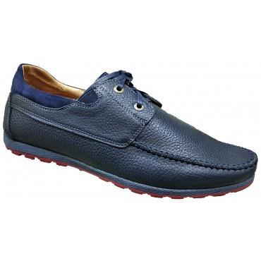 Стильные мужские мокасины кожаные  40-45 синий флотар