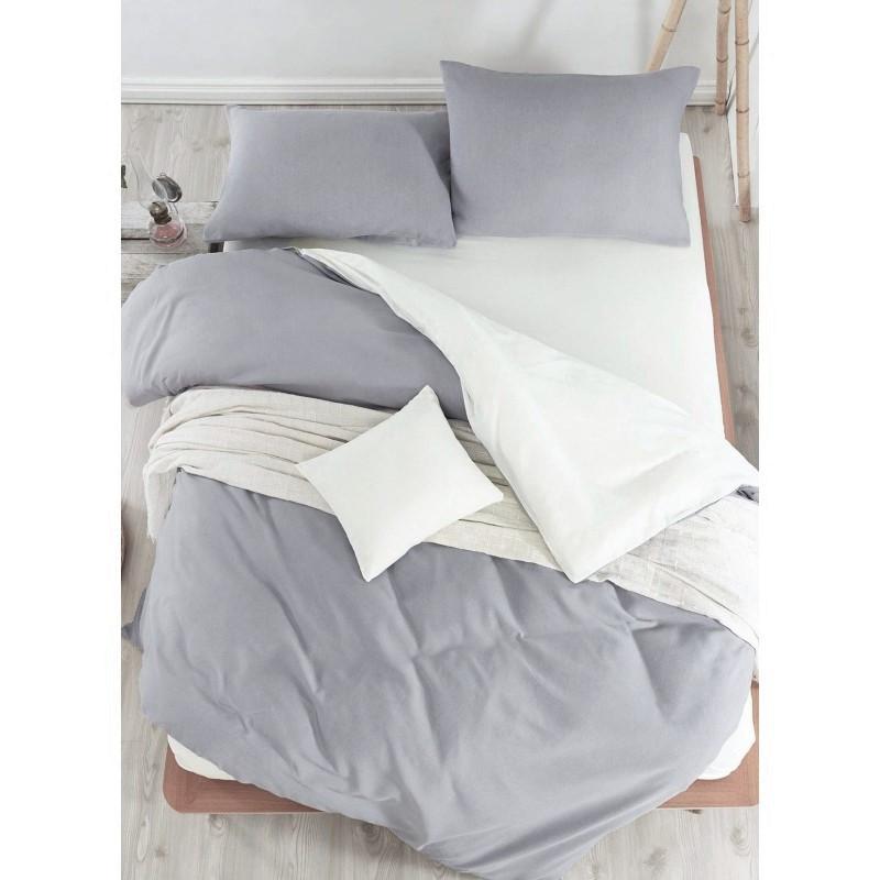 Постельное белье поплин DeLux Микс двусторонний Белый+ Серый ТМ Moonlight Евро-семейный 160х215 2шт