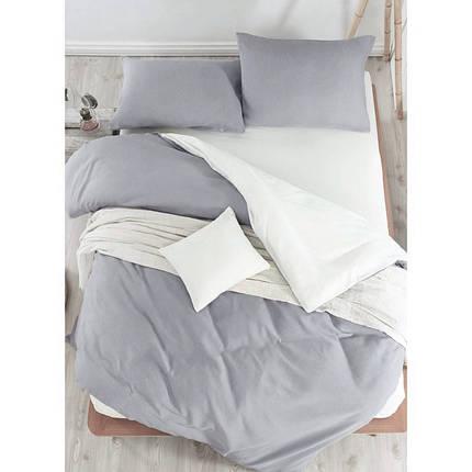 Постельное белье поплин DeLux Микс двусторонний Белый+ Серый ТМ Moonlight Евро-семейный 160х215 2шт, фото 2