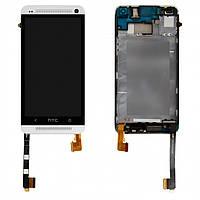 Дисплейный модуль (дисплей + сенсор) для HTC One M7 801e, с передней панелью, серебристый, оригинал