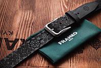 Ремень кожаный мужской черный Franko Патерн 40мм  | UA pattern big black belt | Ручная работа