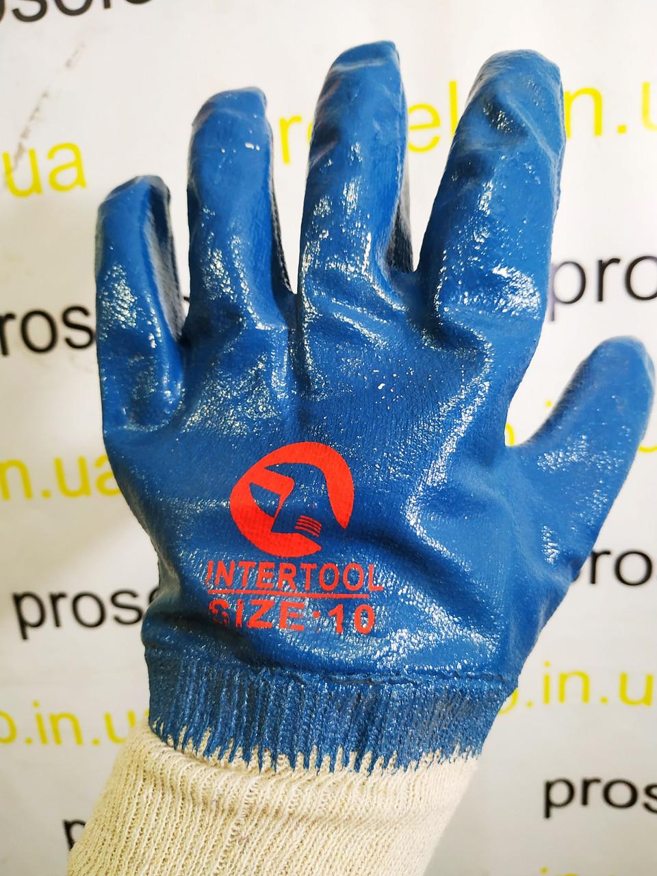 Перчатки (рукавицы) маслостойкие утепленные Intertool SP-0137. С нитриловым покрытием. Вязаный манжет