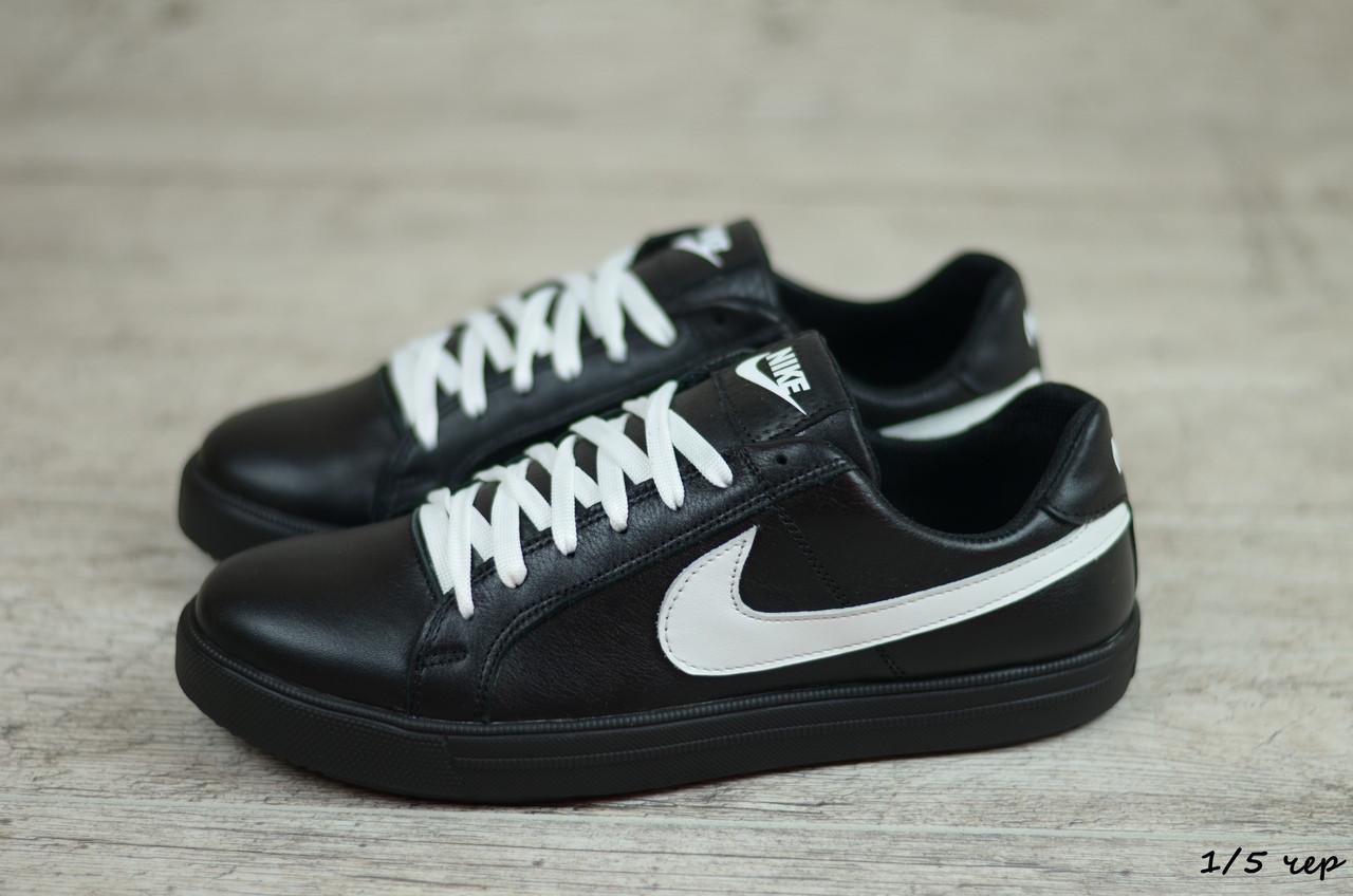 Мужские кожаные кеды Nike (Реплика) (Код: 1/5 чер  ) ►Размеры [40,41,42,43,44,45]