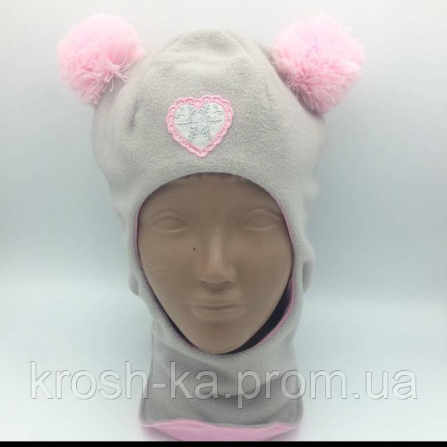 Шапка шлем флисовая для девочки серая(52)р D.Star Украина 914
