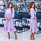 Женское платье с воланом и объемными рукавами лилового цвета, фото 6