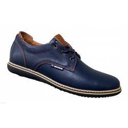 Мужские туфли из натуральной кожи классические 40-45 синий тайфун