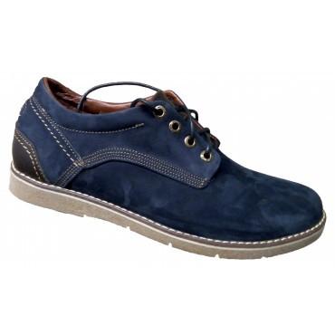 Мужские туфли кожа классические 39-46 синий нубук
