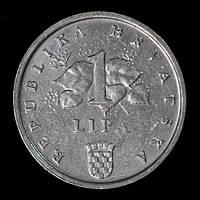 Монета Хорватии 1 липа 1993 г. Початок кукурузы