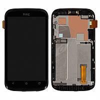Дисплейный модуль (дисплей + сенсор) для HTC Desire V T328w, с передней панелью, черный, оригинал