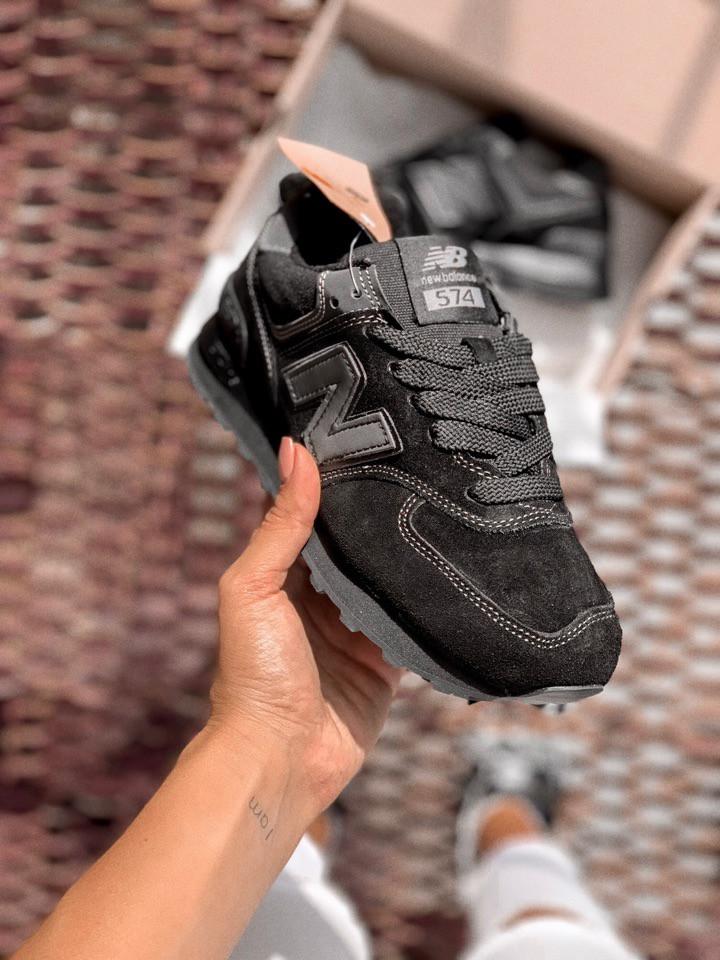 Женские кроссовки в стиле New Balance 574 black (39, 40, 41 размеры)