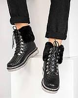 Ботинки женские стеганые зимние черные