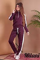 Женский спортивный костюм с лампасами 341 весна-осень (42-44, 44-46, 46-48) (цвет бордо) СП