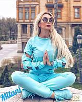 Женский спортивный костюм 338 весна-осень (42-44, 44-46, 46-48) (цвет голубой) СП