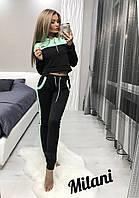 Женский спортивный костюм 301 весна-осень (42-44, 44-46) (цвет черный) СП