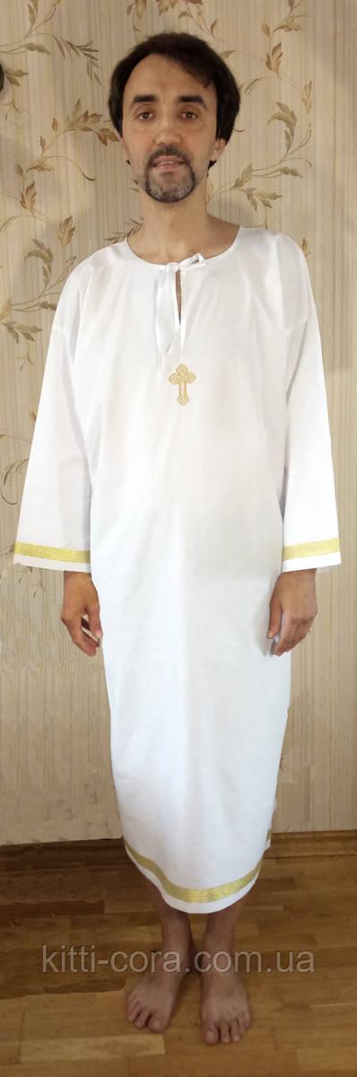 """Рубашка для крещения парня, мужчины. Модель """"Stephen gold+"""" (""""Стефан золото+"""")"""