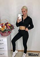 Женский спортивный костюм с топом 349 весна-осень (42-44, 44-46) (цвет черный) СП