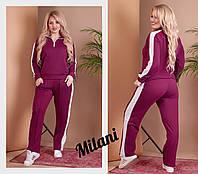 Женский спортивный костюм с лампасами 0113 весна-осень большой размер (50-52, 52-54, 54-56) (цвет бордо) СП