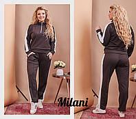 Женский спортивный костюм с лампасами 0113 весна-осень большой размер (50-52, 52-54, 54-56) (цвет кофе) СП