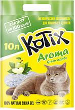 Наповнювач Kotix 4,5 кг (10 л) Aroma Green Apple силікагелевий для туалетів для кішок з ароматом яблука