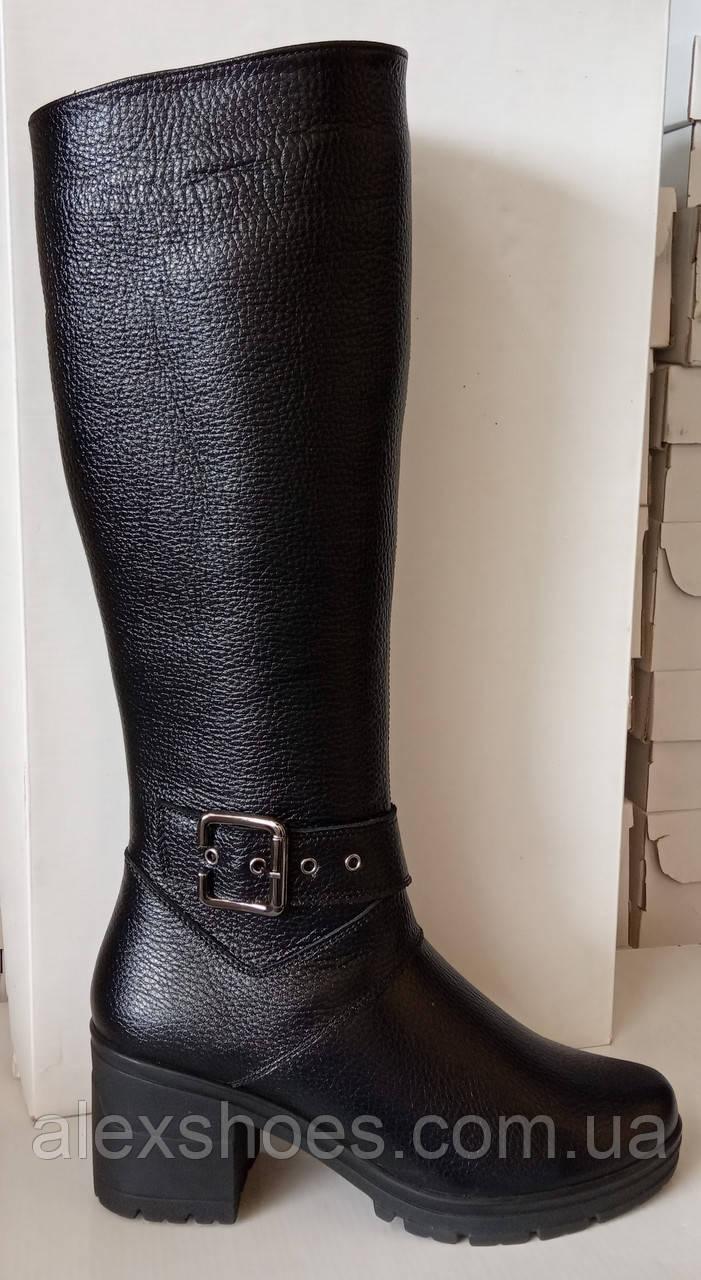 Сапоги высокие зима из натуральной кожи на устойчивом каблуке от производителя модель ЛЕ19С