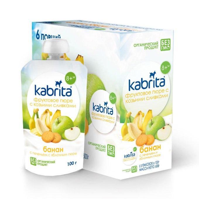 Фруктовое пюре Kabrita «Банан с печеньем и яблочным пюре», (100 гр)