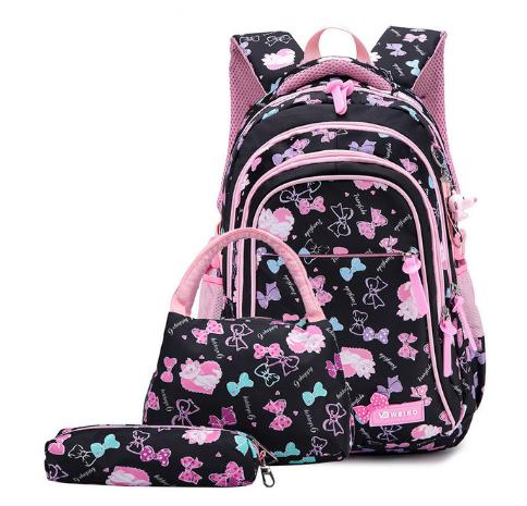 Рюкзак детский школьный Набор 3 в 1 для девочки 3 цвета. Рисунок бантики с кошечками. Черный.