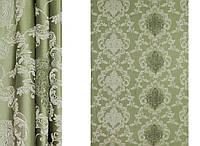 Зеленая портьерная ткань для штор Жаккард  с рисунком