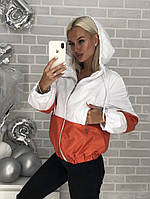 Куртка ветровка на подкладке С, М, Л белая с оранжевым