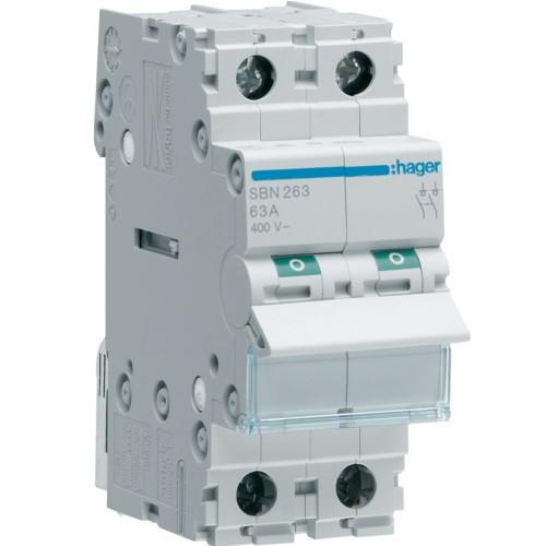 Выключатель нагрузки Hager 2-полюсный, 63 А, SBN263